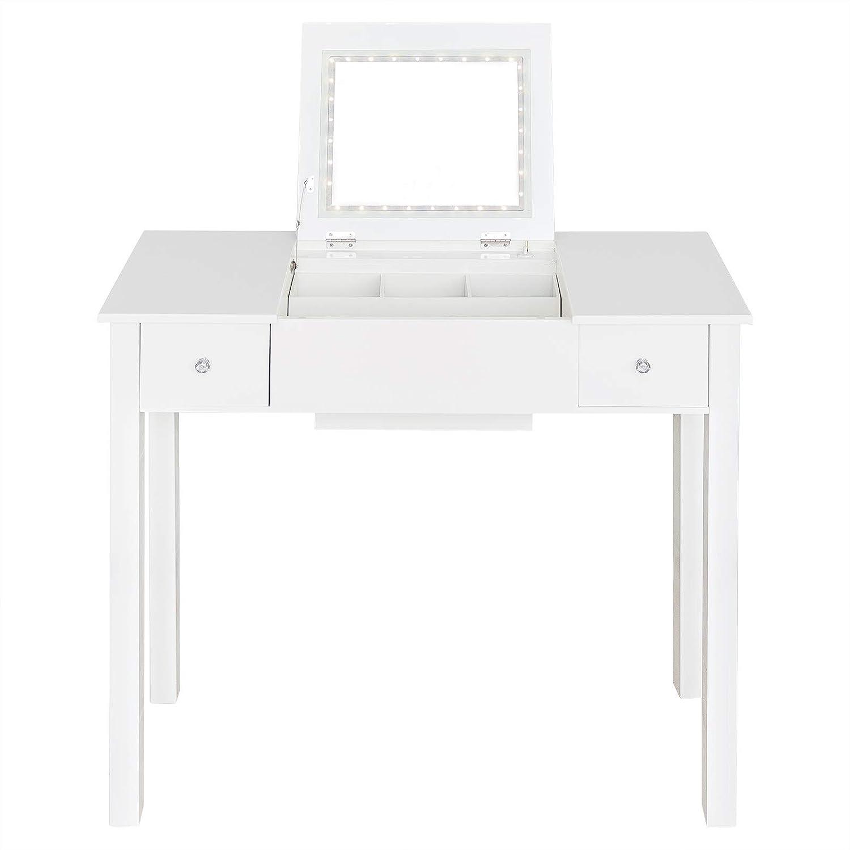 WOLTU MB6040ws Coiffeuse Table de Maquillage avec Miroir escamotable et Eclairage LED 80x40x75cm Blanc