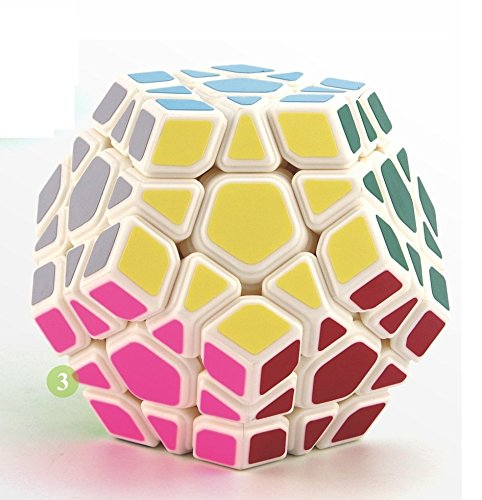 Little Treasures 12 Sided White Cube – Assorted Color Layer Megaminx Speed Cube Puzzle