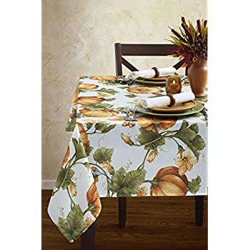 Benson Mills Pumpkin Trellis Nestweave Tablecloth For Thanksgiving, Harvest and Fall (Multi, 60