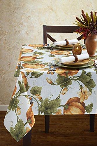 Benson Mills Pumpkin Trellis Nestweave Tablecloth For Thanksgiving, Harvest and Fall (Multi, 60