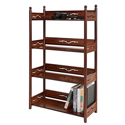 UNICOO - Bamboo 4-Shelf Antique Style Bookcase, Antique Standing Storage Shelf Units, Multifunctional Storage Rack 4 Tier Bookshelf