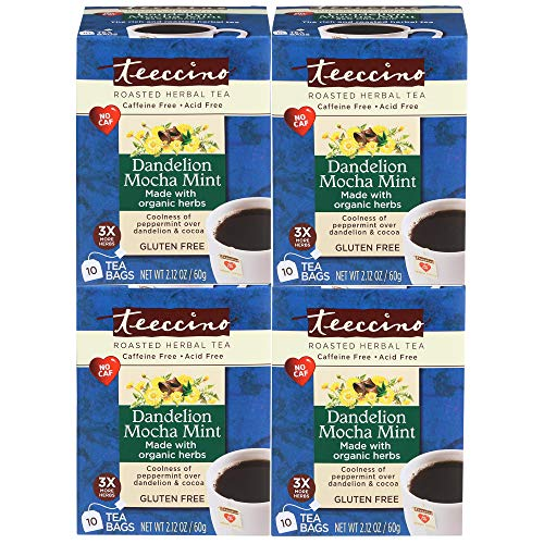 - Teeccino Dandelion Mocha Mint Dandelion Root Roasted Herbal Tea, Caffeine free, Gluten free, Acid Free, Prebiotic 10 Tea Bags (Pack of 4)