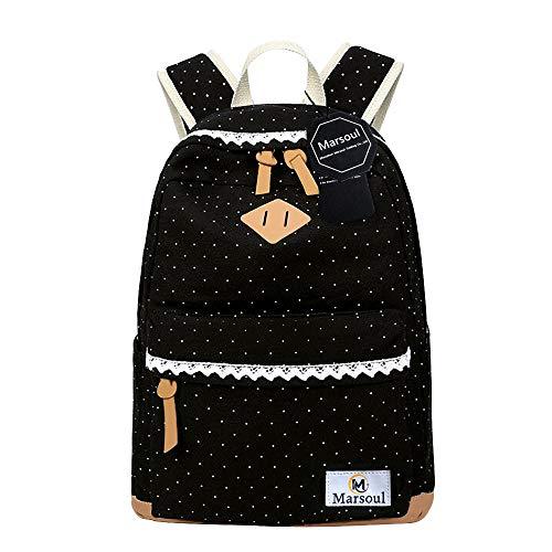 Marsoul Rucksack Damen Schule Segeltuch Rucksack Mädchen Schulethnischer Stil Rucksack (Lacy)