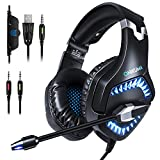 ONIKUMA 2019 Updated Version Gaming Headset for PS4, Xbox One Controller with Volume Control Switch, LED Light, Microphone Bass Surround, Noise Cancelling Over Headphones (Black Blue) (Grey)