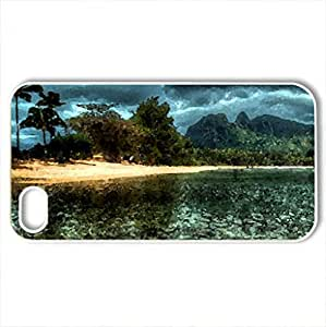 amazing clear sea at a beach hdr - Case Cover for iPhone 4 and 4s (Beaches Series, Watercolor style, White)