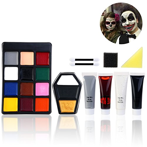 Scary Clown Make Up (PBPBOX Halloween Makeup Face Paint Kit for Zombie Vampire)