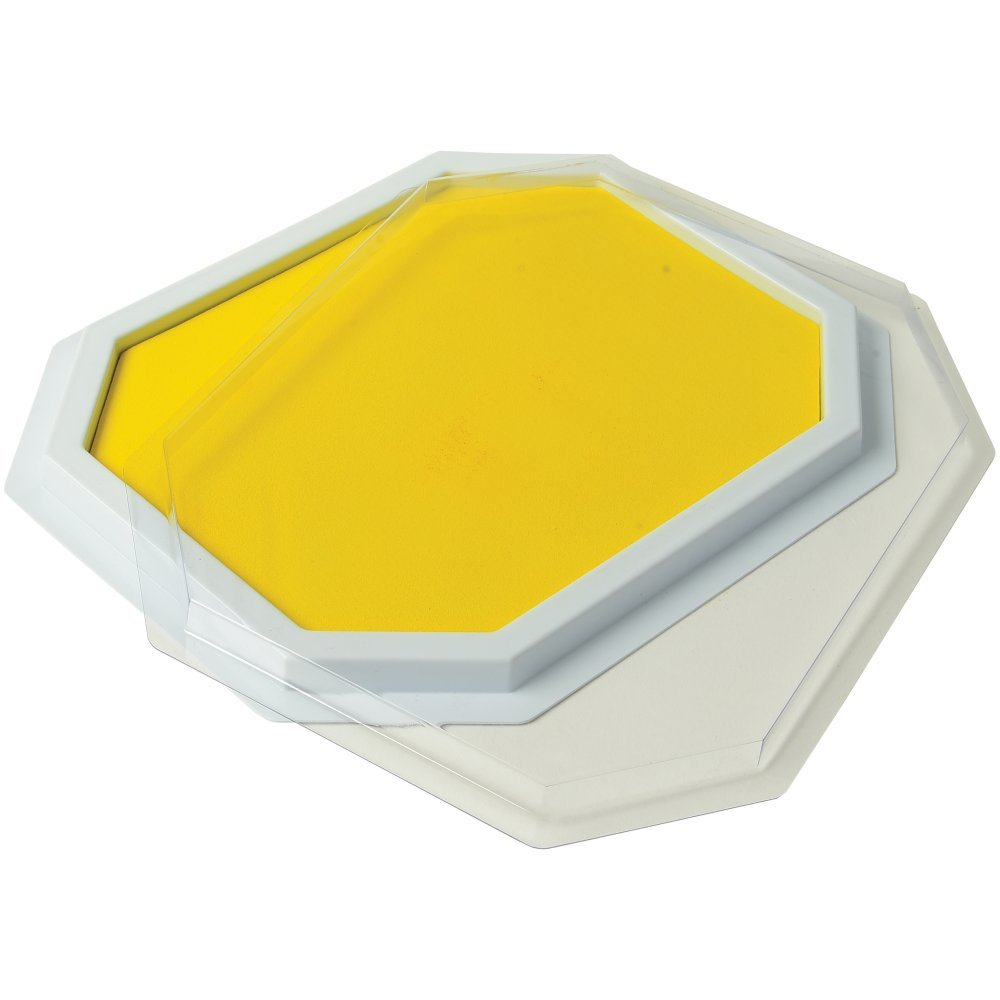 Constructive Playthings Yellow Colored Ink Large Washable Stamp Pad Kid Set for Rubber Stamps