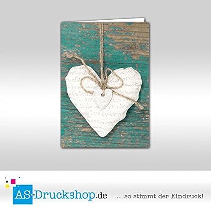 Tarjeta plegable de amor - verde con corazón / 25 unidades/DIN A6 ...