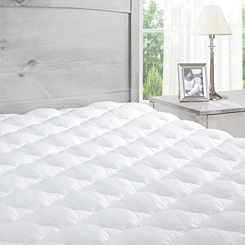 ExceptionalSheets Pillowtop Mattress Pad with Fitted Skirt - Extra Plush Topper Found in Marriott Hotels - Made in the USA, Queen Size