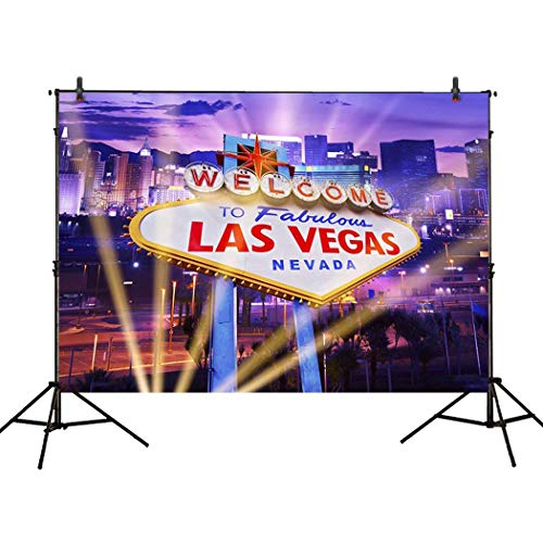 Allenjoy 7x5ft Photography Backdrop Classical Sign Welcome Las Vegas City Night Spotlight Party Banner Background Props photocall photobooth Photo Studio ()