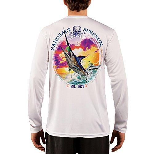 Blue Marlin Sunset Men's UPF 50+ Long Sleeve T-Shirt Large White (Marlin Long Sleeve Tee)