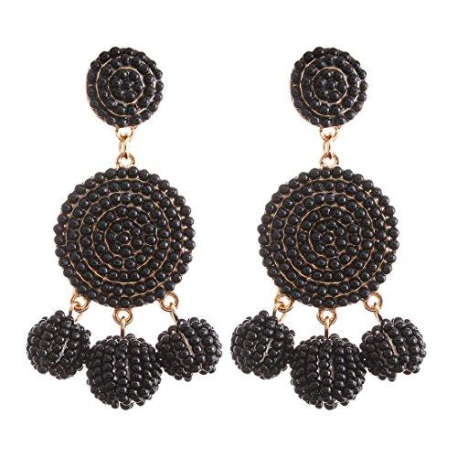 ELEARD Beaded Earrings Elegant Soriee Dangle Bead Disc Bead 3 Ball Dangle Ear Drop Bead Tassel Earrings for Women Girl Black ()