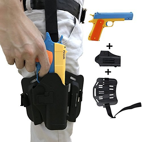 Pinovk Classic m1911 Toy Gun and Thigh Tactical Gun Holder,Kids Colorful Toy Gun with Soft Bullets,Teach Shooter and Gun Safety,Real Dimensions,Fun Outdoor (Thigh Gun Holster Costumes)