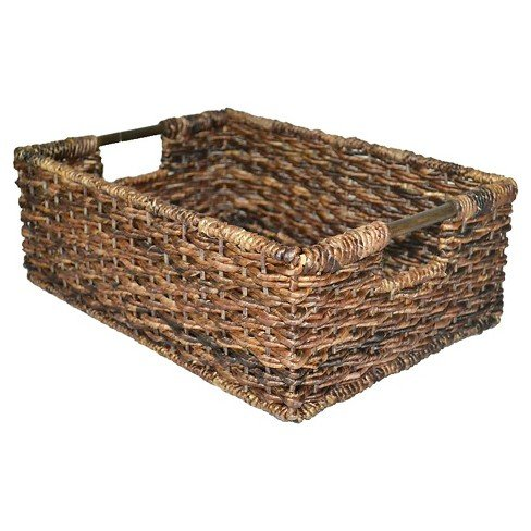 Abaca Basket - Wicker Folio Bin - Dark Global Brown 17 X 12 X 6