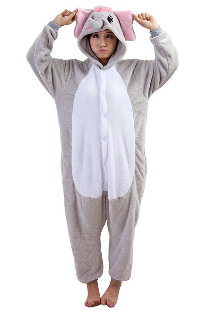 Tonwhar Elephant Sleepsuit Pajamas Costume Cosplay Homewear Lounge Wear (L(Height:165cm-173cm), Gray)