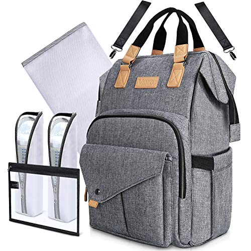 Diaper Bag Backpack for Mom RFID Blocking with Changing Pad Stroller Straps Organizer Pouch and Baby Bottle Insulated Bags Gray