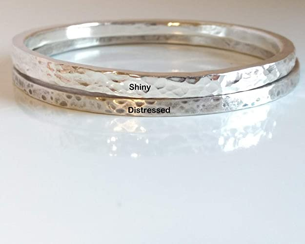 aa2c3f60675 Thick Sterling Silver Bangle, Solid Heavy 925 Silver Bracelet, Stacking  Bracelet, Layering Bracelet, Hammered Silver Oxidized Silver: Amazon.ca:  Handmade