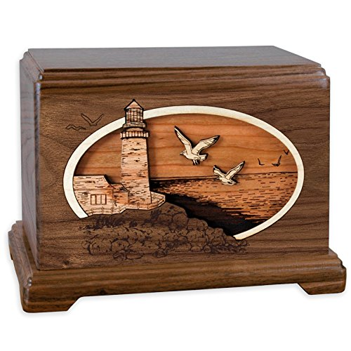 Hampton Wood Cremation Urn with Coastal Lighthouse 3-Dimensional Wood Inlay Art Funeral Urns for Ashes Made in the USA (Standard Adult, Classic Lighthouse, Walnut)