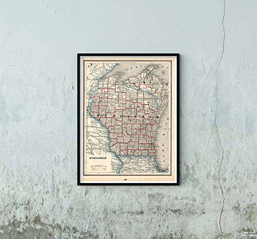Map World Atlas, Wisconsin 1893 Historic Antique Vintage Reprint Size: 18x24 Ready to - Map Wisconsin Antique