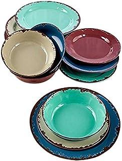 12-Pc. Rustic Melamine Dinnerware Set  sc 1 st  Amazon.com & Amazon.com | Gibson Home Estelle 12 Piece Acrylic Dinnerware Set ...