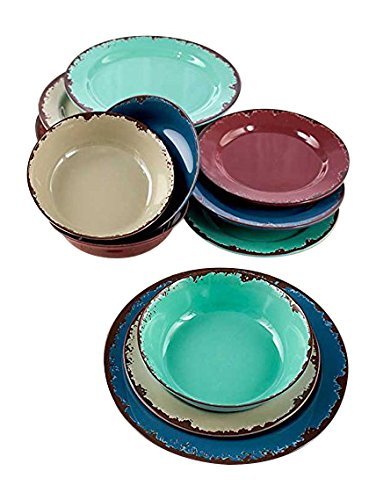 12-Pc. Rustic Melamine Dinnerware Set (Light Weight Dishes)