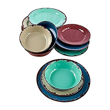 12-Pc. Rustic Melamine Dinnerware Set
