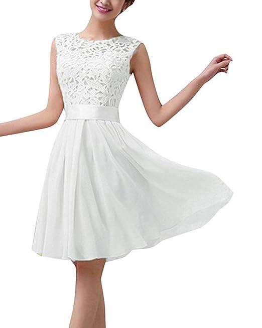 Minetom Vintage Boho Mujer Verano sin mangas Beach Printed Mini vestido corto Blanco ES 34
