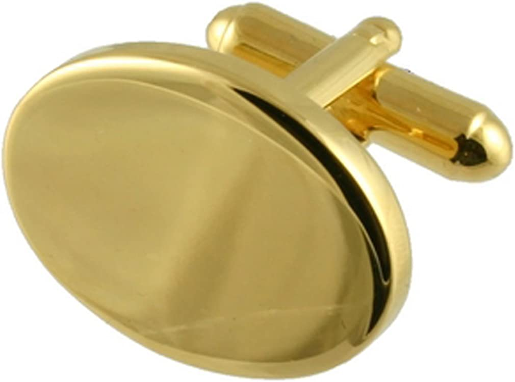 Select Gifts Pair Gold-Tone Oval Polished Classic Cufflinks Optional Engraved Personalised Box