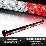 """Xprite 31.5"""" 28 LED 7 Modes Traffic Advisor Emergency Warning Vehicle Strobe Light Bar Kit (White/Red)"""