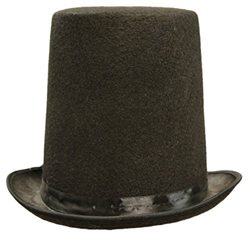 Honest Abe Lincoln Men's 8 Inch Black Felt Stovepipe Top - Stove Lincoln