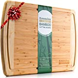 Extra Large Bamboo Cutting Board with Juice Groove by Kawaiian - Professional Grade Quality - Eco-Friendly Organic Bamboo, Wood Chopping Board - Best Wooden Cutting Boards for Kitchen - 18 x 12.5 Inch
