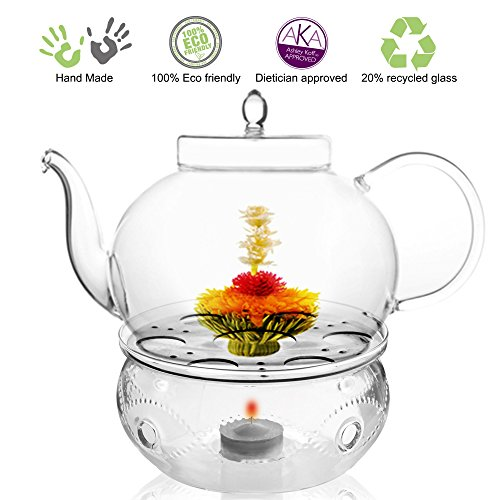 Black Glass Tea Pots - Tea Beyond Tea Services Teapot Polo 45 Oz / 1330 Ml and Glass Tea Warmer Wave Large