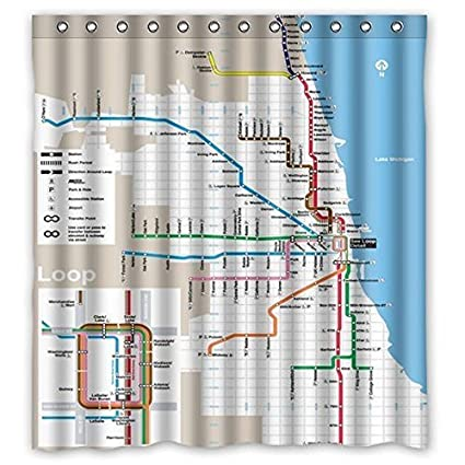 Crystal Emotion Chicago Subway Map Pattern Shower Curtain