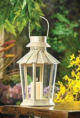 Graceful Garden Candle Lantern Centerpiece Weathered Ivory Finish