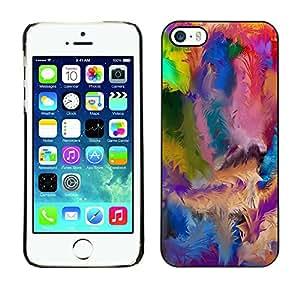 Qstar Arte & diseño plástico duro Fundas Cover Cubre Hard Case Cover para Apple iPhone 5 / iPhone 5S ( Swirl Colorful Pattern Blue Oil Paint)
