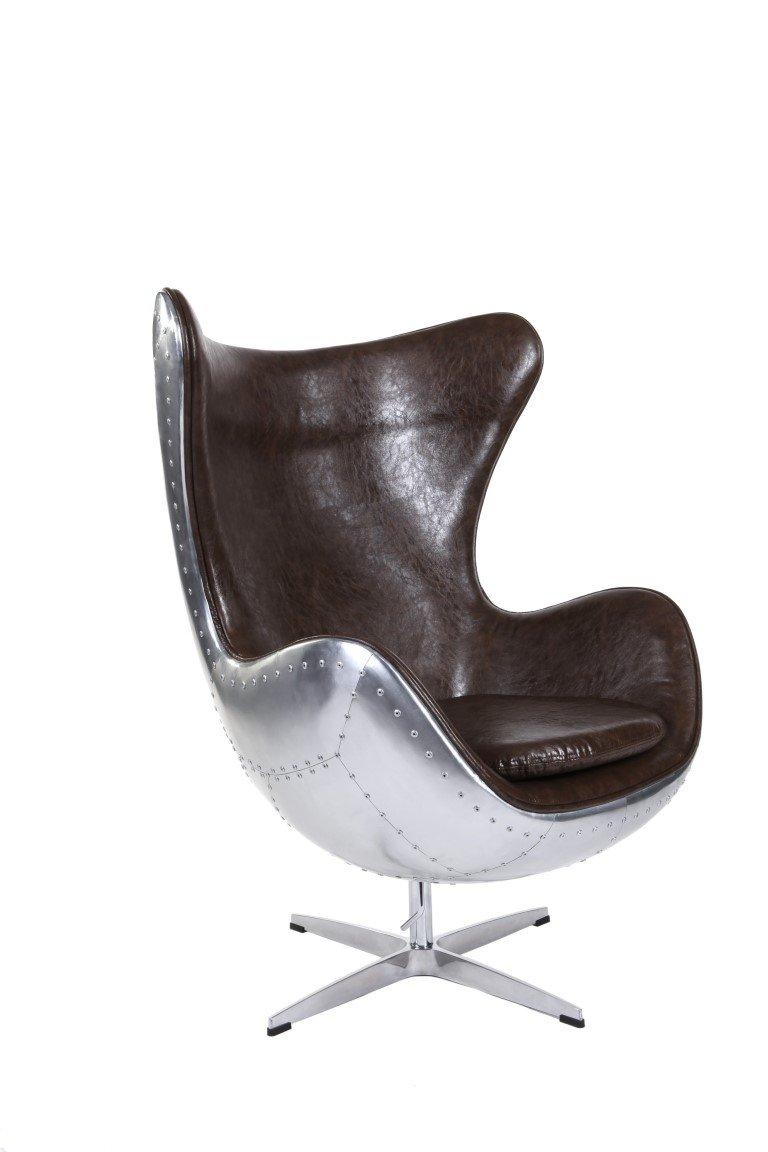 Casa Padrino Art Deco Egg Chair Drehstuhl Sessel Aluminium Echt