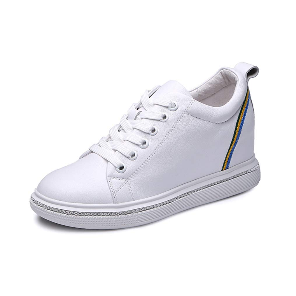 White T-JULY Wedges Sneakers Women Genuine Leather Platform shoes for Women Autumn Lace-up Casual shoes Height Increase