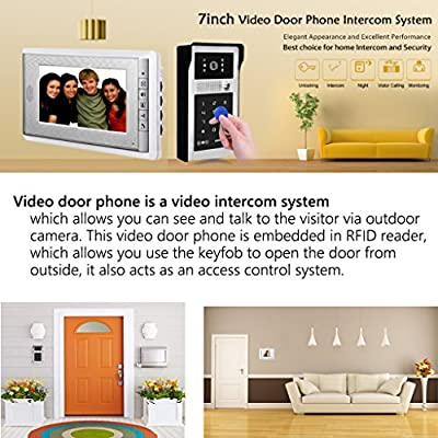 "AMOCAM Video Door Phone System, 7"" Video Intercom Doorphone System, Wired Video Doorbell Touch Alloy HD Camera, ID Keyfobs Card/Password Keypad Unlocking Option with Power Supply Control"