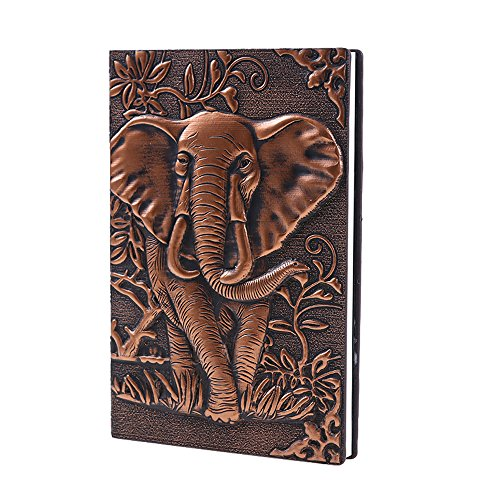 ZYWJUGE Leather Journal Writing Notebook - Antique Handmade Leather Daily Notepad Sketchbook, Elephant Gift For Men & Women, Travel Diary & Notebooks to Write in (Red, - Embossed Elephant