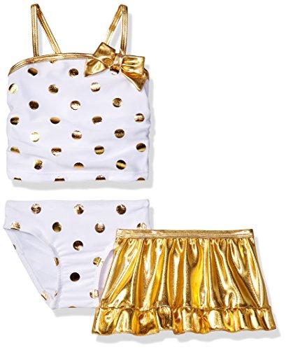 SOL Swim Baby Girls' Solo Infant Flash Dance 2 Pc Swimsuit With Skirt, White, 12 - International Swimsuit