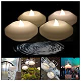 LACGO (Pack of 144) LED 3 Inch Real Wax Flameless Flicker Candle, LED Water Floating Candle, for Wedding, Home, Party Decoration(Warm White Light)