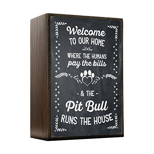 Inspired Home The Pitbull Runs The House Box Sign Size 4x5.5