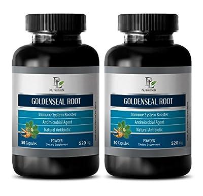 immune support tablets - GOLDENSEAL ROOT 520MG - goldenseal leaf powder - 2 Bottles (120 Capsules)