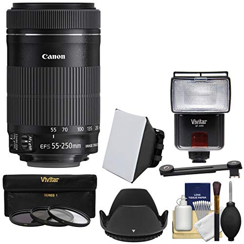 Canon EF-S 55-250mm f/4.0-5.6 is STM Zoom Lens with 3 Filters + Hood + Flash & Video Light + Diffuser + Soft Box + Kit for EOS 70D, Rebel T3, T3i, T4i, T5, T5i, SL1 DSLR Cameras (Canon Zoom Lens Ef S 17 85mm)