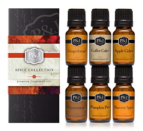 P&J Trading Spice Set of 6 Premium Grade Fragrance Oils - Cinnamon, Harvest Spice, Apple Cider, Coffee Cake, Gingerbread, Pumpkin Pie - 10ml