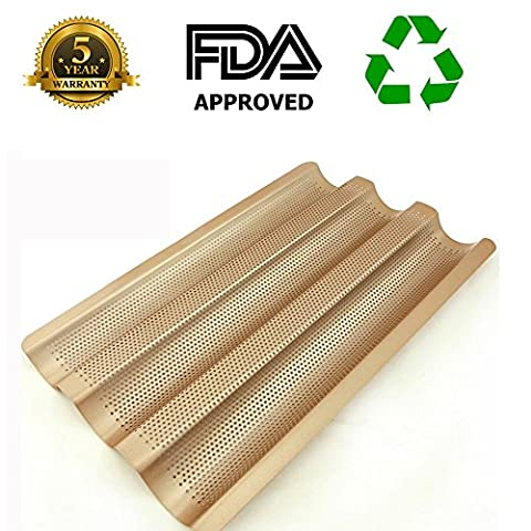 French Bread Pan Baguette Baking Tray Perforated 3-slot Non Stick Bake Loaf Mould 15inch - Non Stick French Bread Pan