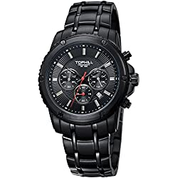 Tophill Sc091 Men's Sport Watch Chronograph Dive Analog All Black Stainless Steel Band