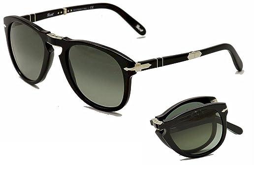 7930372188 Amazon.com  Persol Po 714SM Steve Mcqueen Folding Sunglasses 95 71 Black  Gray Green 52mm  Persol  Clothing