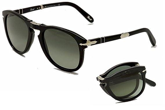 ea9f7f89f8 Persol Po 714SM Steve Mcqueen Folding Sunglasses 95 71 Black Gray Green 52mm