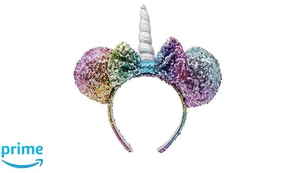 408010e68342 Amazon.com : CHARM IT! Disney Minnie Ears Unicorn Sequin Headband ...